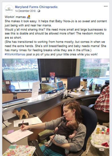梅洛迪·布莱克韦尔抱着5个月大的孩子在工作。图片来源:社交媒体截图。