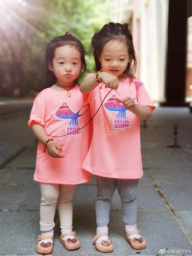 杨威双胞胎女儿欢欢和乐乐