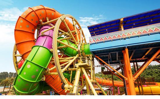 """""""摇滚巨轮""""两分多钟的天旋地转让你high翻天!身高1.4米以上的少年玩水家们,可以与家长一起挑战,体验快速前进、回转、倒后等一系列前所未有的玩水体验。"""