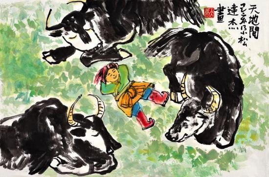中国画《天地间》,作者:尕松达杰,玉树第一完小六年级