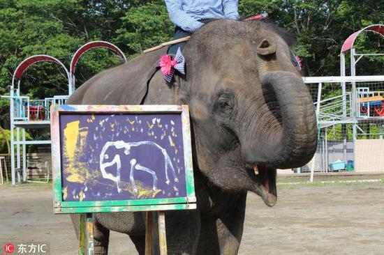 日本大象靠卖画给娃赚奶粉钱