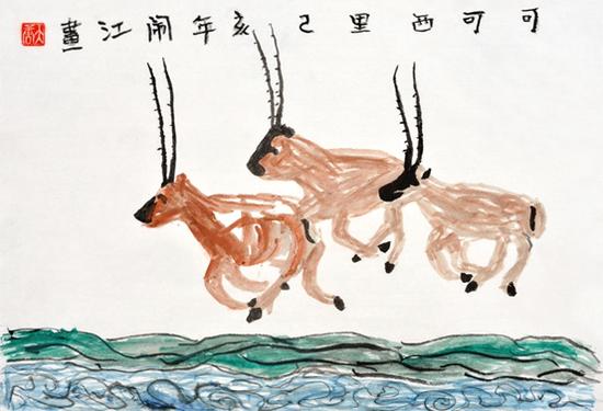 可可西里(藏羚羊) 闹江画 玉树市第一完全小学六年级