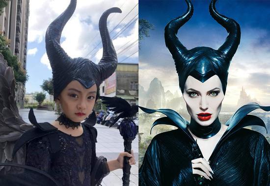 小萝莉(左)cos由安吉丽娜·朱莉扮演的黑魔后玛琳菲森(右)