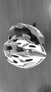检测人员在实验室模拟人戴着运动头盔骑车时突然摔倒头部着地的情况,用差不多大小的力度冲撞运动头盔,结果很多运动头盔都被撞裂。   金陵晚报记者   黄昆 摄