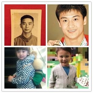 田亮晒父亲照片,一家人共用一张脸