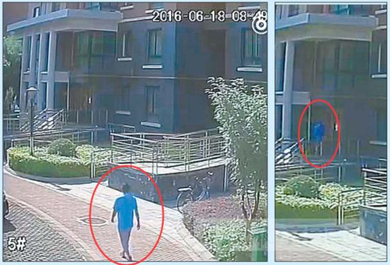警方公布的视频显示,上午8点49分,蓝衣男子出现在事发楼前,随后走进女孩所住的单元。齐鲁壹点 记者 杜洪雷摄