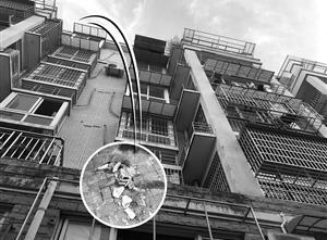 小区居民告诉记者花盆就是从六楼的一处露台坠下的 制图 吴玉涵