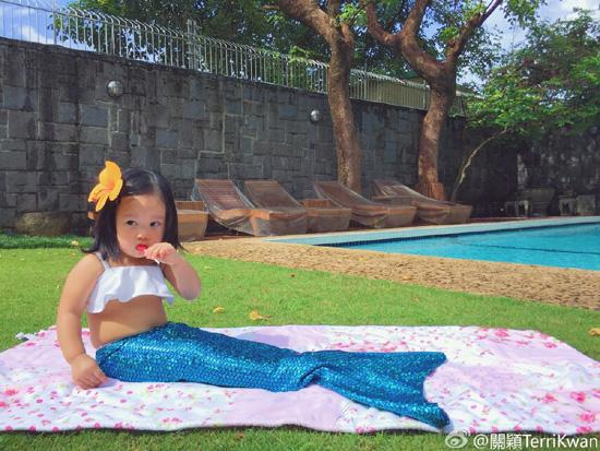关颖女儿美人鱼造型
