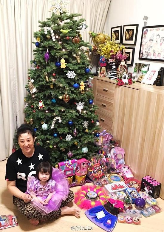 陈浩民一家布置圣诞树