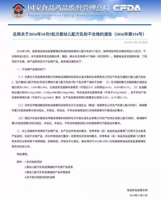 11月22日,国家食品药品监督管理总局对外公布10月份婴幼儿配方奶粉抽检结果。