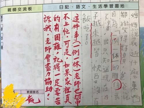 小学三年级学生的日记,写到一例一休让家里快没饭吃了。来源:台湾联合新闻网