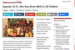 女子37岁已生38个孩子 含4对3胞胎3对4胞胎