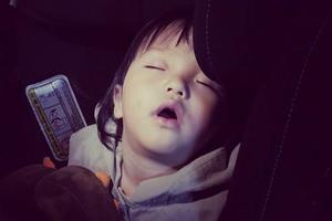 欧弟女儿坐爸爸车熟睡张大嘴 Jo妈存黑照实力坑娃
