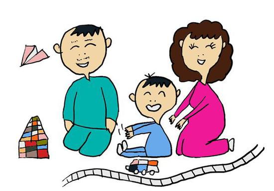 手绘婴儿和父母