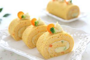 健康低热的蔬菜蛋糕卷--胡萝卜土豆泥蛋糕卷(图)