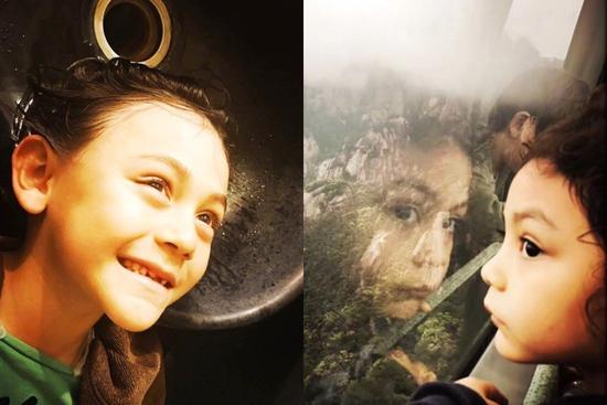 刘烨晒出诺一和妮娜的照片