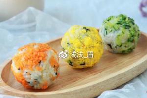 爱上了一颗有内涵的饭团--虾仁三色饭团(图)