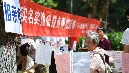 长沙母亲扎堆公园为儿征婚。图片来源:视觉中国
