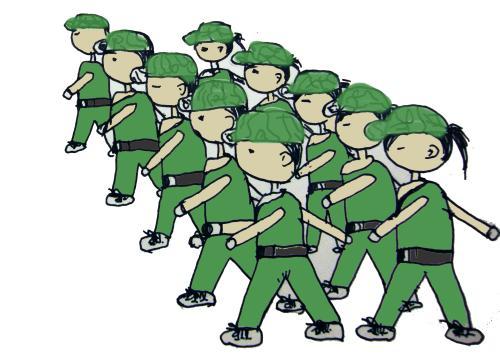 军训图片卡通 插画