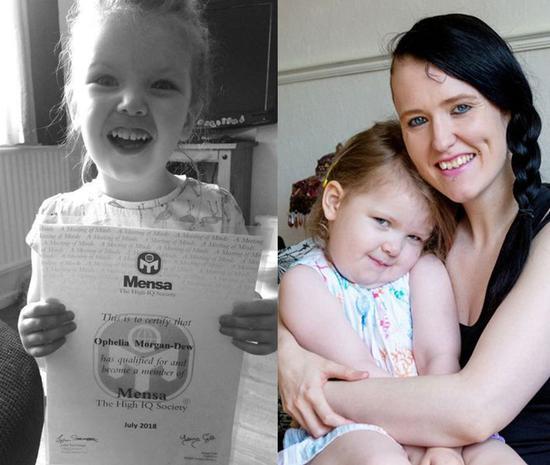 英国3岁女童奥菲莉娅·摩根·杜(Ophelia Morgan-Dew)智商高达171