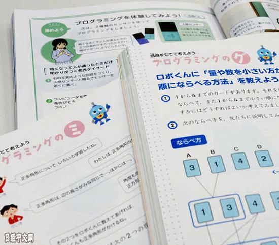 有编程内容的日本小学算数和理科教科书
