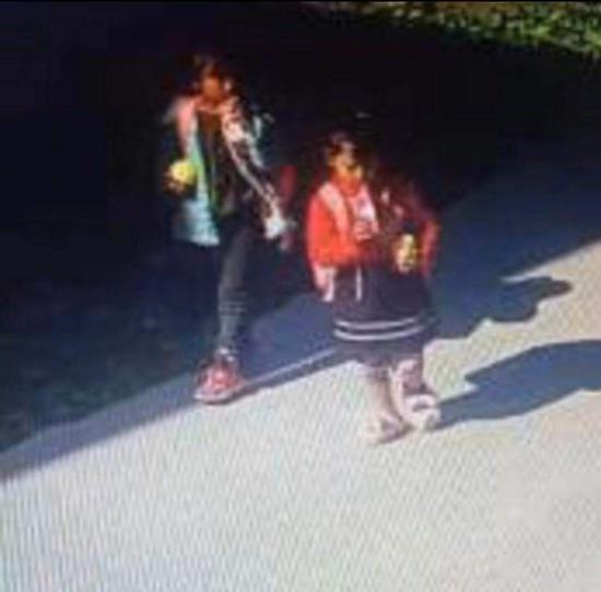 当天二人从幼儿园放学后回家的视频截图。来源:公安部儿童失踪信息紧急发布平台