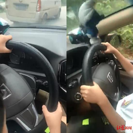 娃娃手握方向盘驾车 视频截图