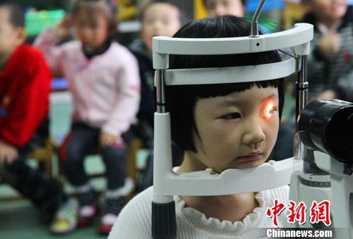 资料图:小朋友们正在检测视力。中新社发 韩苏原 摄
