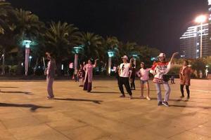 田亮夫妇带儿女跳广场舞 一家四口动作同步超喜感
