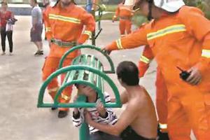 熊孩子头卡健身器 消防3分钟营救给力