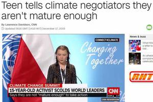 15岁瑞典少女气候大会演讲 CNN:几乎让190国蒙羞