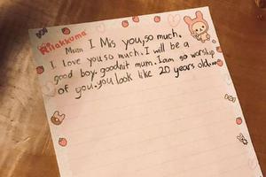 孙俪连续工作回家获儿子手写信 文笔稚嫩温馨有爱