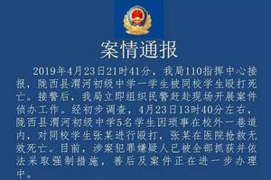 甘肃一初中生被5名同学殴打致死 嫌疑人均已被抓