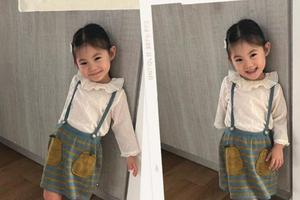 陈冠希感慨女儿成长太快 Alaia穿背带裙乖巧甜笑