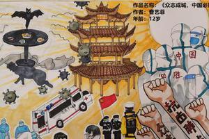 """广东惠东12岁小学生作画作曲支持""""疫战"""""""