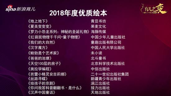 2018年度优质绘本奖出炉