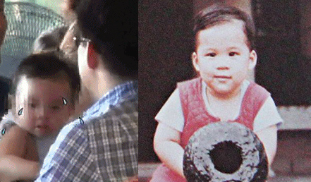 郭晶晶女儿与霍启刚童年照(右)对比