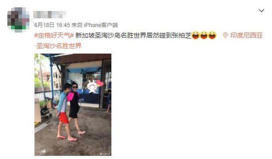 网友新加坡偶遇张柏芝母子 长腿吸睛温馨十足