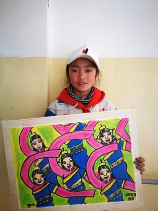 (《玉树锅庄舞》作者:永吉[女],六年级)