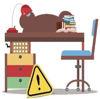 儿童学习桌椅具有升降、推拉等调节功能,如果设计不合理、缺少警示标识,可能会存在卡住手指等风险。创意图片/新京报记者 王远征