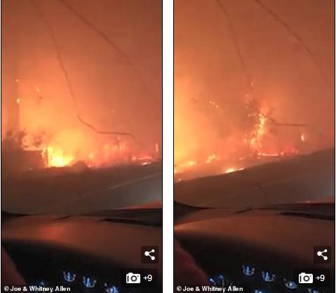 沿途树林的火势猛烈,道路周围满是浓烟(图源:每日邮报)