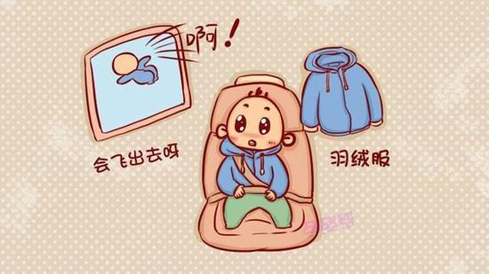 孩子穿羽绒服坐安全座椅安全系数为0
