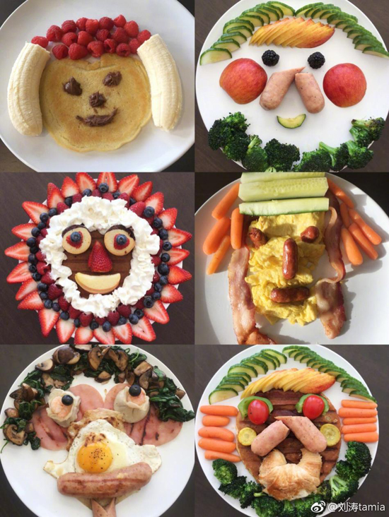 刘涛为家人做的早餐