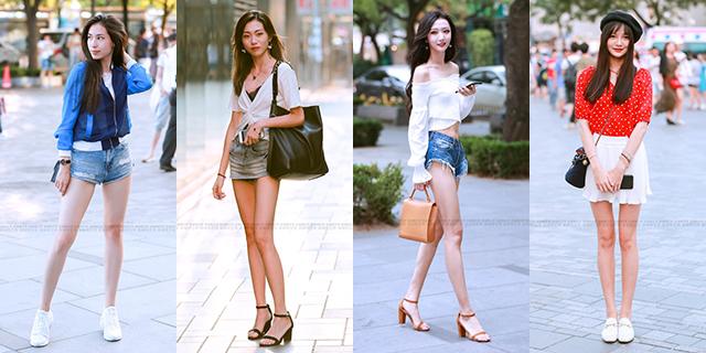 牛仔超短裤美女大秀美腿