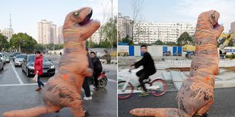 """路遇""""恐龙""""过街"""