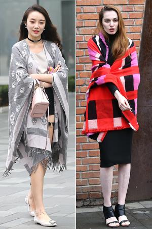 实拍:美女披条毯子就出街