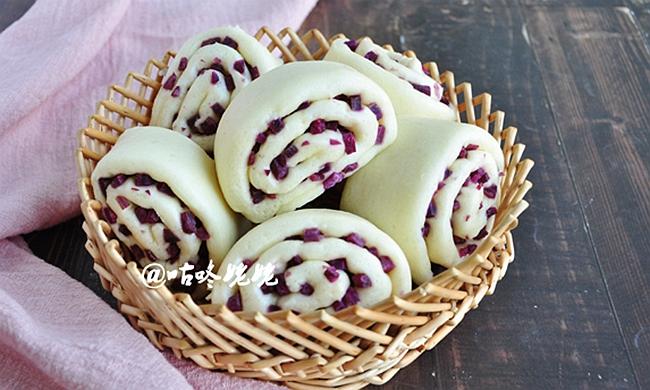 紫薯卷子|好看好吃又营养