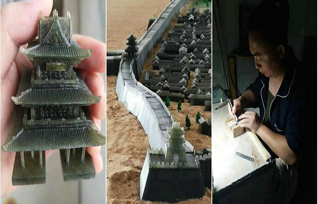 男子耗时3年,用微雕还原榆林古城原貌