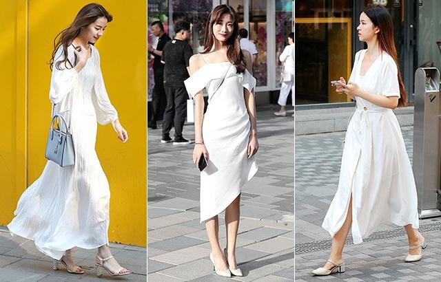 街拍:白衣白裙,美女穿出纯净美