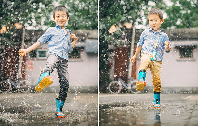 After the rain in Beijing, the two brothers are playing crazy